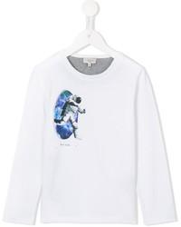 T-shirt a maniche lunghe stampata bianca di Paul Smith