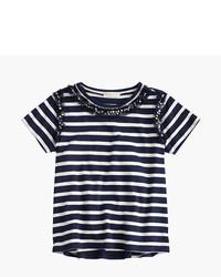 T-shirt a righe orizzontali bianca e blu scuro