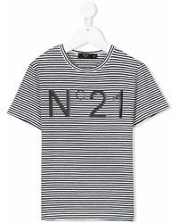 T-shirt a righe orizzontali bianca e nera