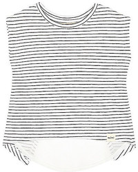 T-shirt a righe orizzontali bianca