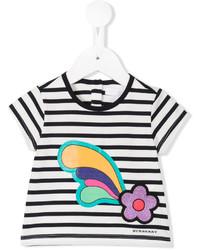 T-shirt a righe orizzontali bianca di Burberry