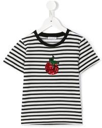 T-shirt a righe orizzontali bianca di Dolce & Gabbana