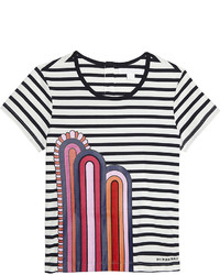 T-shirt a righe orizzontali blu scuro e bianca