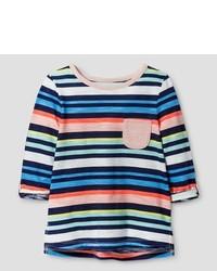 T-shirt a righe orizzontali multicolore