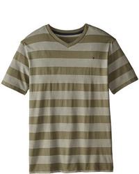 T-shirt a righe orizzontali verde oliva
