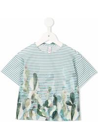 T-shirt a righe orizzontali verde di Il Gufo