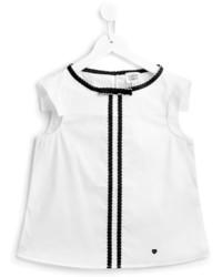 T-shirt a righe verticali bianca