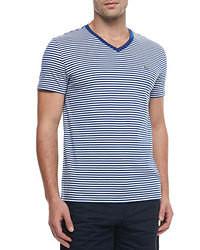 T-shirt con scollo a v a righe orizzontali bianca e blu scuro