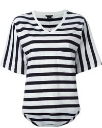 T-shirt con scollo a v a righe orizzontali bianca e nera
