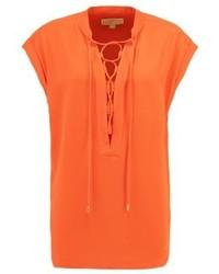 T-shirt con scollo a v arancione di Michael Kors