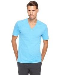 T-shirt con scollo a v azzurra