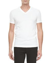 T-shirt con scollo a v bianca