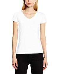 T-shirt con scollo a v bianca di Fruit of the Loom