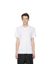 T-shirt con scollo a v bianca di Jil Sander