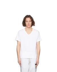 T-shirt con scollo a v bianca di Maison Margiela