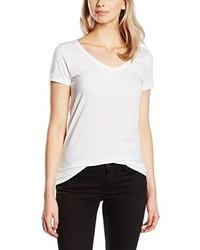 T-shirt con scollo a v bianca di Only