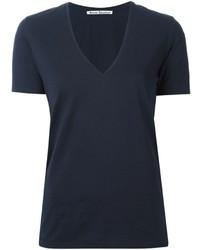 T-shirt con scollo a v blu scuro