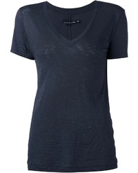 T-shirt con scollo a v blu scuro di Rag and Bone