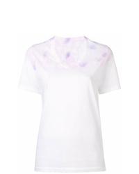 T-shirt con scollo a v effetto tie-dye bianca di MM6 MAISON MARGIELA