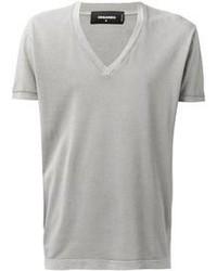 T-shirt con scollo a v grigia
