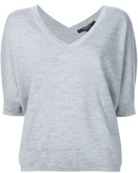 T-shirt con scollo a v grigia di Derek Lam