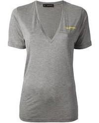T-shirt con scollo a v grigia di DSquared