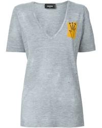 T-shirt con scollo a v grigia di Dsquared2