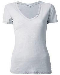 T-shirt con scollo a v grigia di James Perse