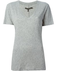 T-shirt con scollo a v grigia di Rag and Bone