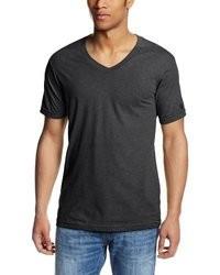 T-shirt con scollo a v grigio scuro