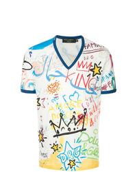 T-shirt con scollo a v stampata bianca di Dolce & Gabbana