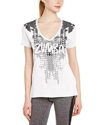 T-shirt con scollo a v stampata bianca