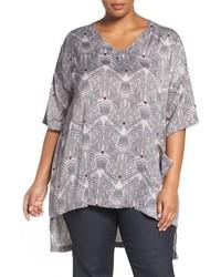 T-shirt con scollo a v stampata grigia