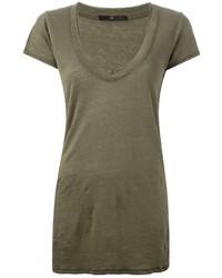 T-shirt con scollo a v verde oliva