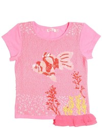 T-shirt decorata fucsia