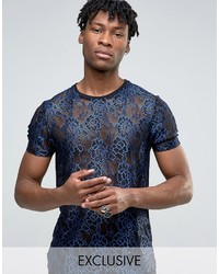T-shirt geometrica blu di Reclaimed Vintage