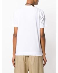 T-shirt girocollo a fiori bianca e nera