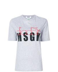 T-shirt girocollo a fiori grigia