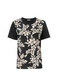 T-shirt girocollo a fiori nera di Moncler