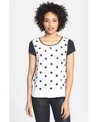 T-shirt girocollo a pois bianca