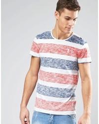 T-shirt girocollo a righe orizzontali arancione