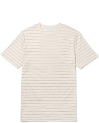 T-shirt girocollo a righe orizzontali beige