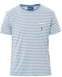 T-shirt girocollo a righe orizzontali bianca e blu