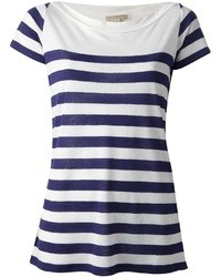T-shirt girocollo a righe orizzontali bianca e blu scuro