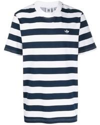 T-shirt girocollo a righe orizzontali bianca e blu scuro di adidas