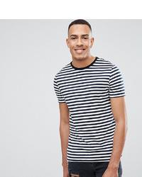 T-shirt girocollo a righe orizzontali bianca e blu scuro di ASOS DESIGN