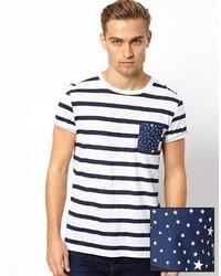 T-shirt girocollo a righe orizzontali bianca e blu scuro di Asos