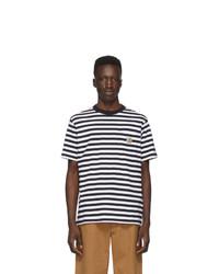 T-shirt girocollo a righe orizzontali bianca e blu scuro di CARHARTT WORK IN PROGRESS