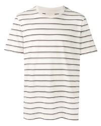 T-shirt girocollo a righe orizzontali bianca e blu scuro di Folk