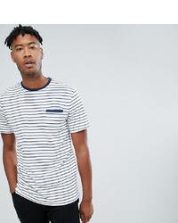 T-shirt girocollo a righe orizzontali bianca e blu scuro di Jacamo
